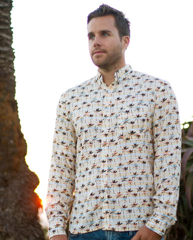 Handsome Me Palms Long Sleeve Buttonup
