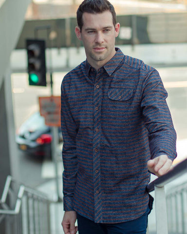 SLVDR Woven Midnight Stripe Buttonup