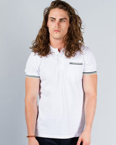 WEEKEND OFFENDER Bourne White Polo
