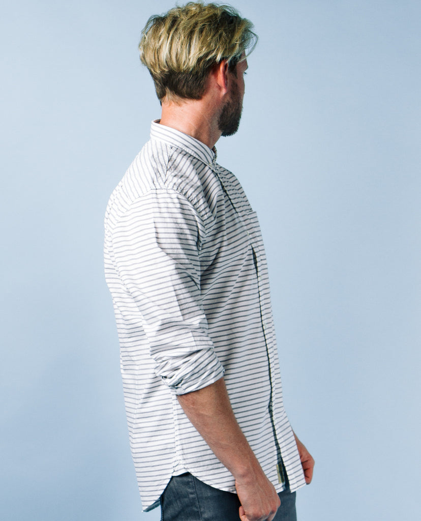 Grey Stripe White Buttonup