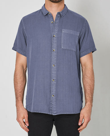 Rollas Men At Work Herringbone Weave Blue Buttonup