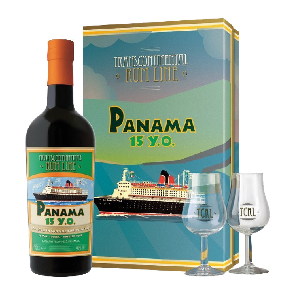 PANAMA RUM 15 YEARS TCRL GIFT SET WITH 2 GLASSES