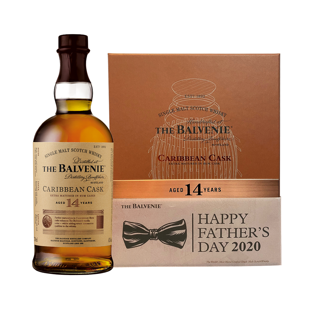 BALVENIE 14 YEARS OLD CARRIBEAN CASK FATHER'S DAY GIFT PACK WITH 1 GLASS AND LEATHER COASTER