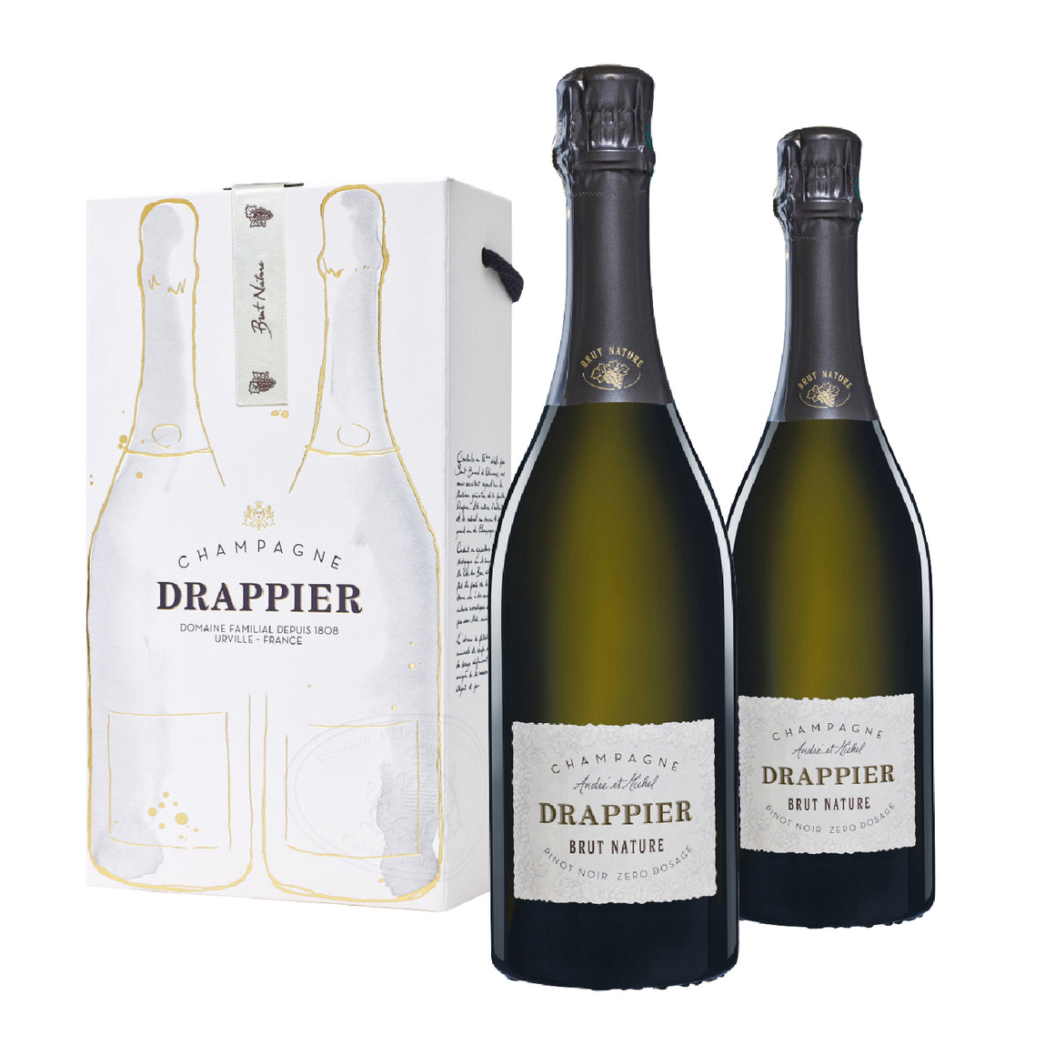 CHAMPAGNE DRAPPIER BRUT NATURE ZERO DOSAGE TWIN GIFT BOX SET