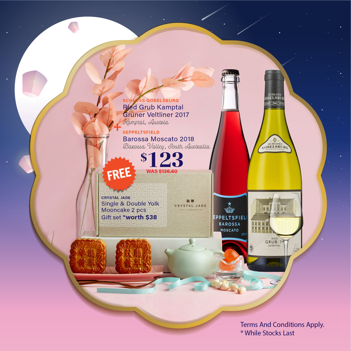 SEPPELTSFIELD BAROSSA MOSCATO 2018 & SCHLOSS GOBELSBURG RIED GRUB KAMPTAL GRUNER VELTINER 2017 - *FREE 1 X CRYSTAL JADE SINGLE & DOUBLE YORK MOONCAKE 2 PCS GIFT SET WORTH $38