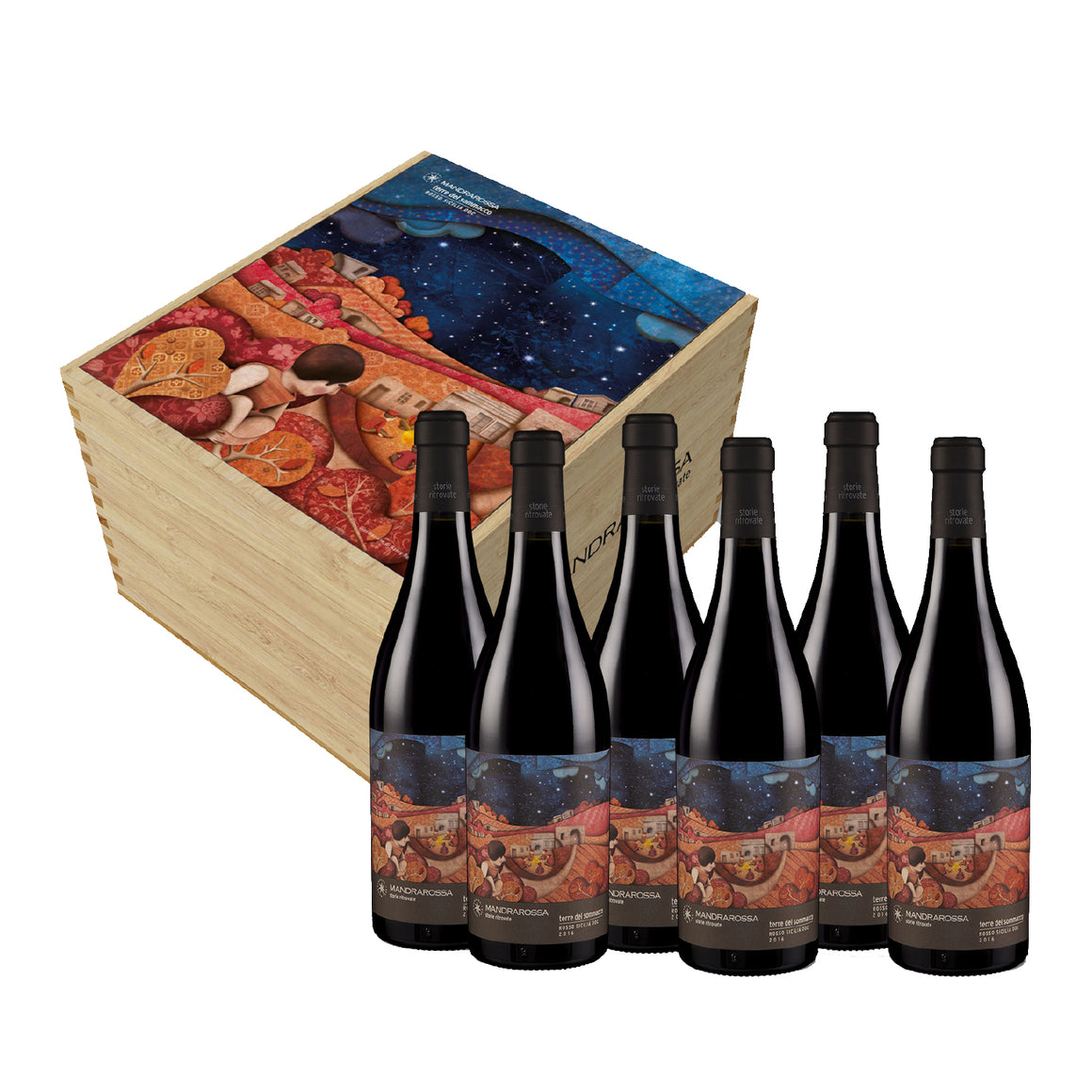 MANDRAROSSA TERRE DEL SOMMACCO 2016 - 6 BTLS GIFT SET WITH WOODEN BOX