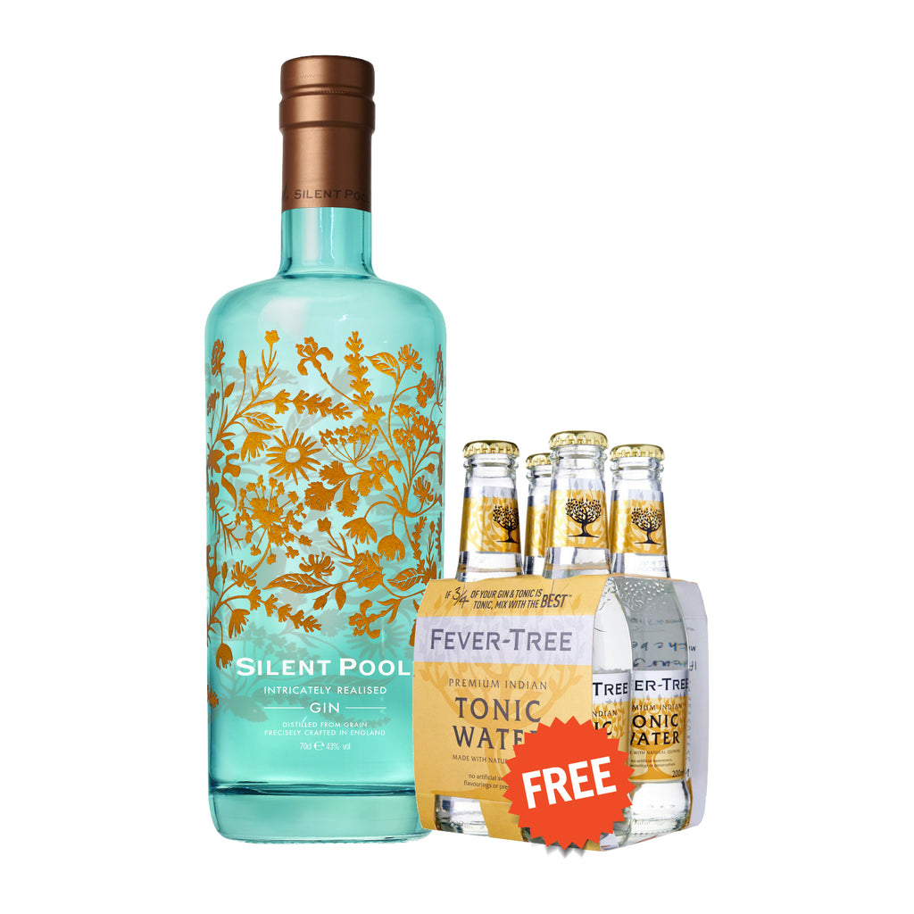 SILENT POOL GIN *Free 4 BTLS of FEVER TREE INDIAN TONIC WATER 200ml worth $11.20