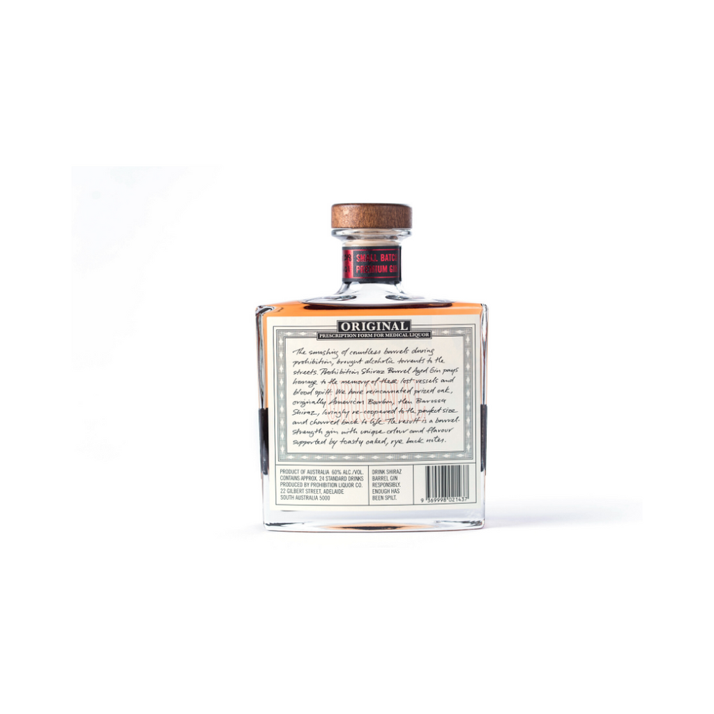PROHIBITION SHIRAZ BARREL GIN 60% 500ML