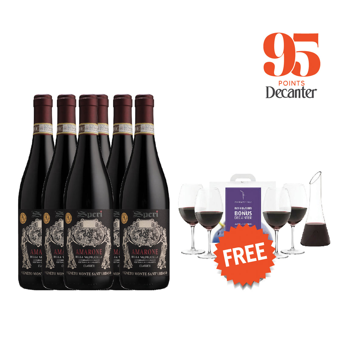 SPERI AMARONE DELLA VALPOLICELLA CLASSICO 2015 (6 BOTTLES WITH FREE PLUMM RED GLASSES & FLINDERS DECANTER PACK WORTH $198