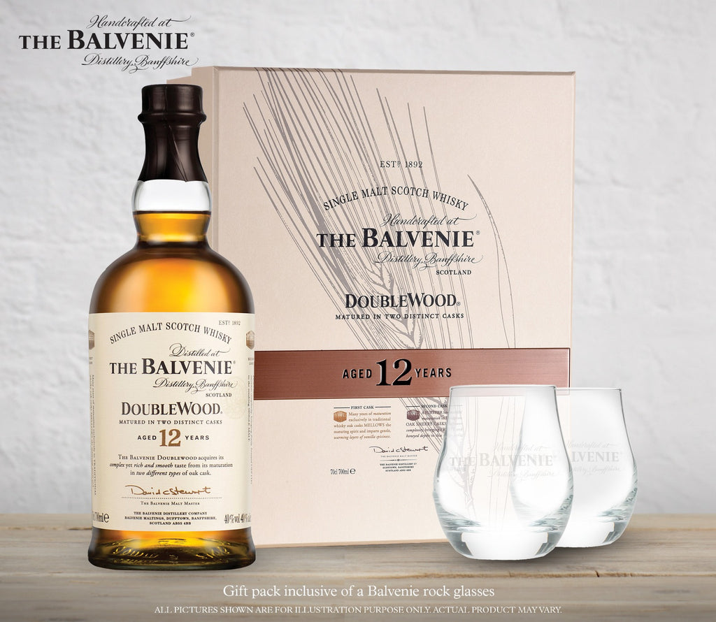 BALVENIE 12 YEARS OLD DOUBLEWOOD GIFT PACK WITH 1 GLASS