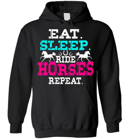 Eat Sleep Ride Horses Repeat Girls Horseback Riding Hoodie