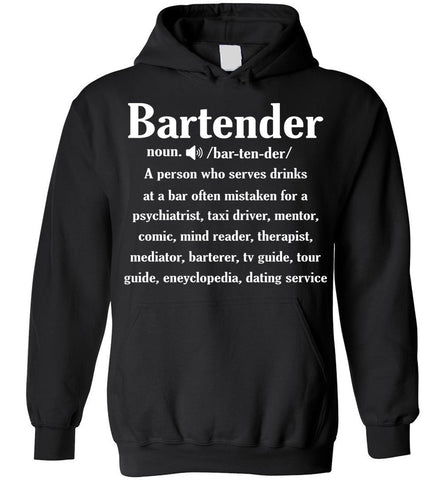 Noun Gifts Bartender Definition Funny Gift Hoodie
