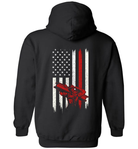 Distressed Linemen  Gift With American Flag Hoodie