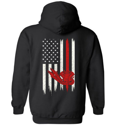 Distressed Diesel Mechanic  Gift With American Flag Hoodie
