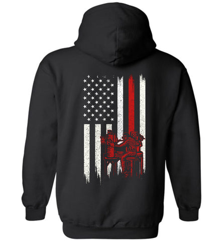 Image of Distressed Machinist Gift With American Flag Hoodie