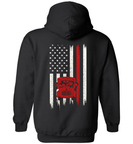 Image of Distressed Bus driver Gift With American Flag Hoodie