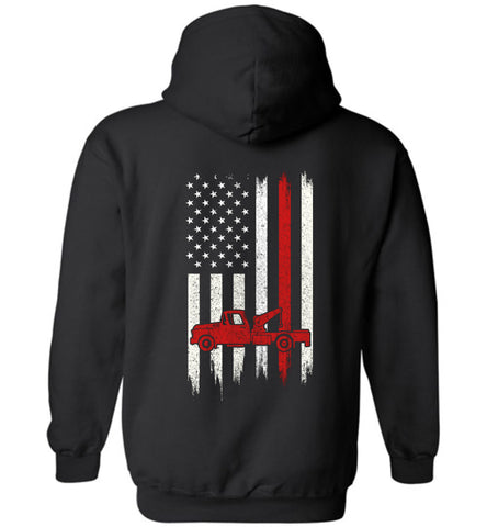 Distressed Trucker Gift With American Flag Hoodie