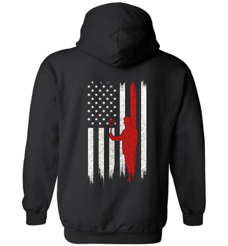 Distressed Roofer Gift With American Flag Hoodie