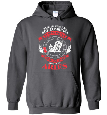 Image of She Is Special She Combines Angel And Devil She Is An Aries Hoodie