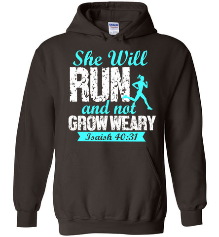 Image of She Will Run And Not Grow Weary Isaiah 40:31 Hoodie - OlalaShirt