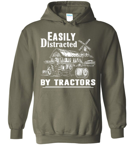 Easily Distracted By Tractors Hoodie Farmer Gift