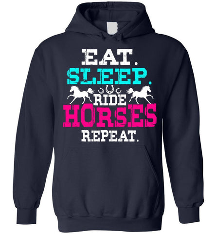 Image of Eat Sleep Ride Horses Repeat Girls Horseback Riding Hoodie
