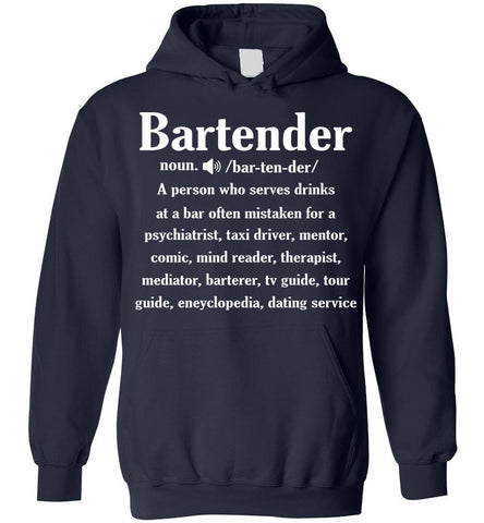 Image of Noun Gifts Bartender Definition Funny Gift Hoodie