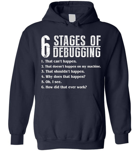 6 Stages Of Debugging Bug Coding Computer Programmer Hoodie