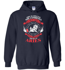 She Is Special She Combines Angel And Devil She Is An Aries Hoodie