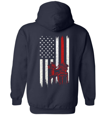 Distressed Machinist Gift With American Flag Hoodie