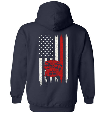 Distressed Bus driver Gift With American Flag Hoodie