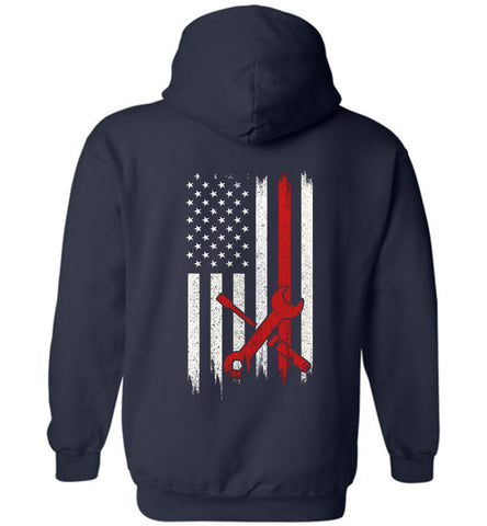 Image of Distressed Technician Gift With American Flag Hoodie