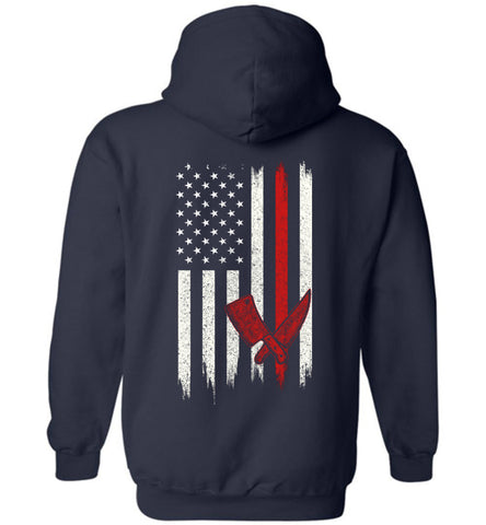 Distressed Butcher Gift With American Flag Hoodie