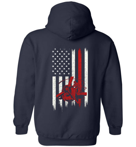 Distressed Aircraft Mechanic Gift With American Flag Hoodie