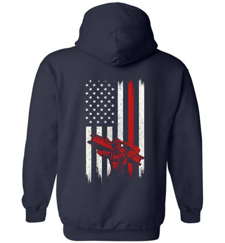 Image of Distressed Linemen  Gift With American Flag Hoodie