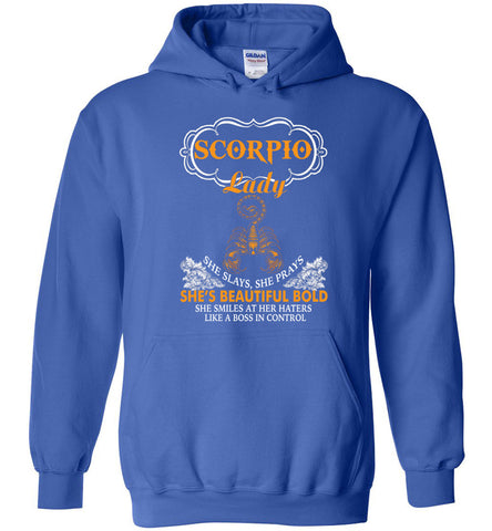 Image of Scorpio Lady She Slays She Prays She's Beautiful Bold Hoodie