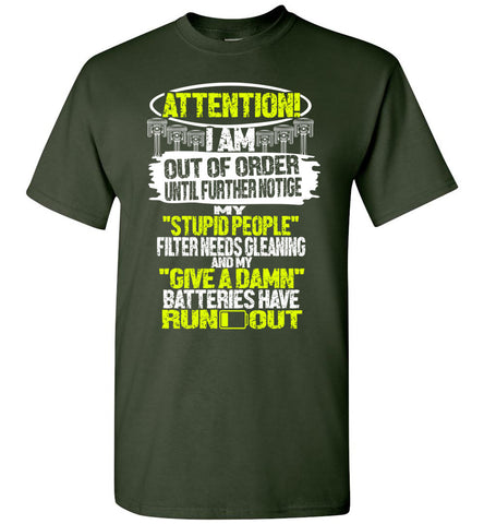 Image of Attention Im Out Of Order Mechanic T-shirt - OlalaShirt