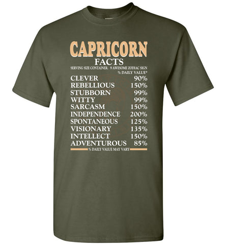 Image of Capricorn Facts Serving Size Container 9 Awesome Zodiac Sign T-Shirt
