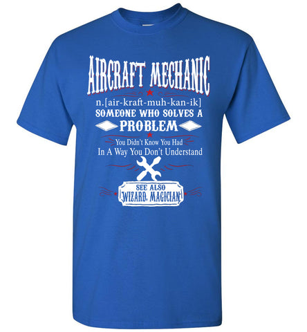 Image of Funny Aircraft Mechanic Meaning T-shirt Noun Definition Gift
