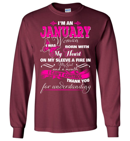 Image of I'm A January Woman I Was Born With My Heart On My Sleeve Long Sleeve T-shirt