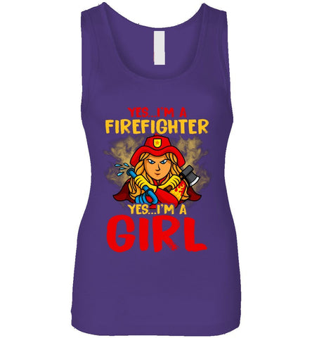 Yes I'm A Firefighter Yes I'm A Girl Funny Gift Tank Top