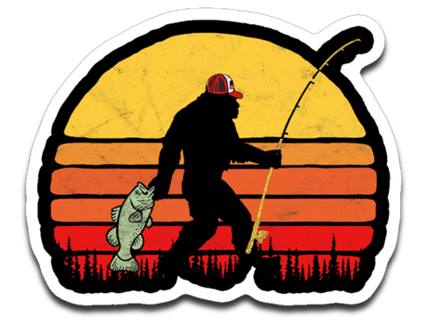 Bass Fishing Bigfoot in Trucker Hat Retro Decal