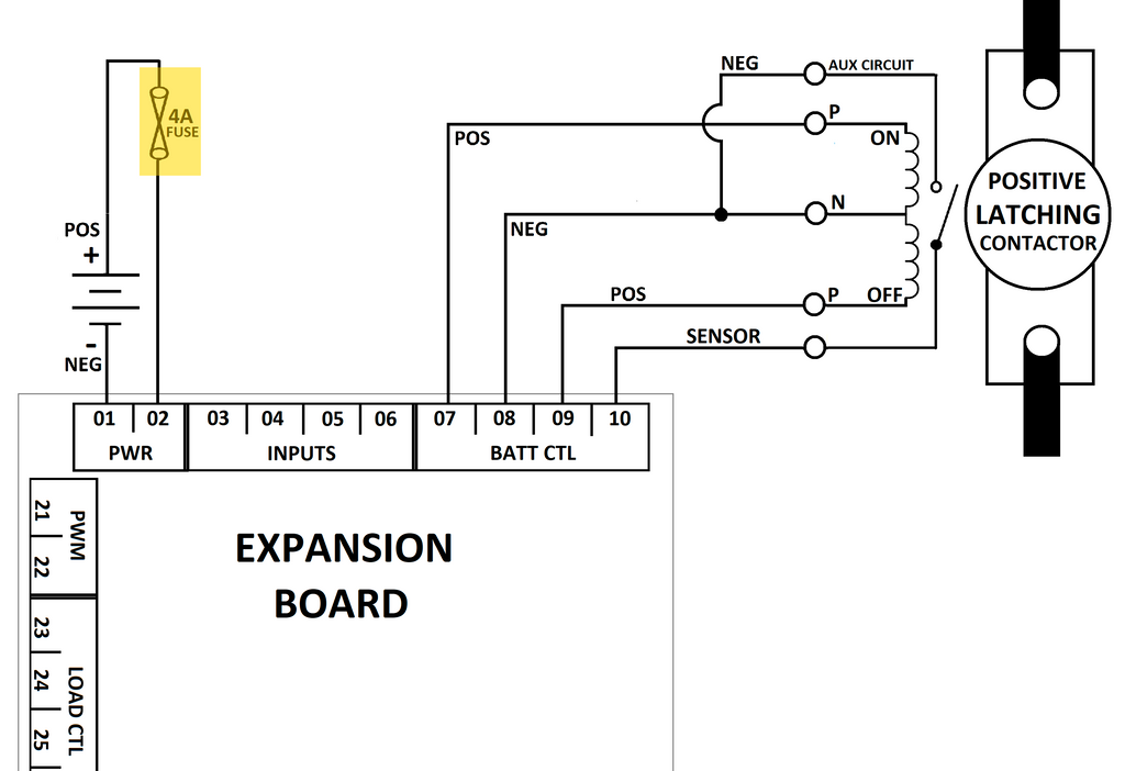 How to Connect a Positive Switch Latching Contactor to Expansion ...