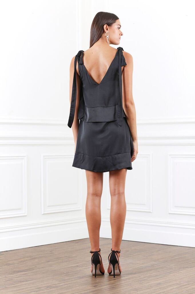 Lustre Layered Tie Mini Dress - PROJECT TYME