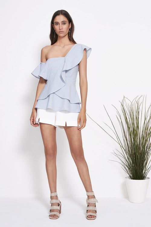 Power Stripe Peplum Top - PROJECT TYME