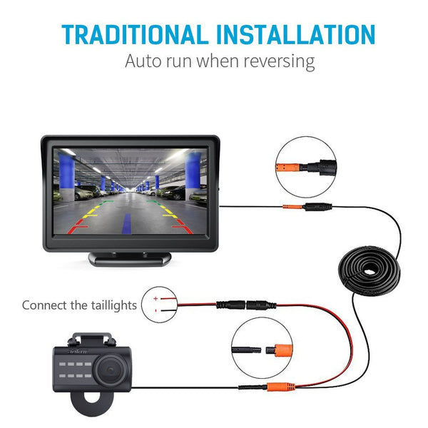 Aokur Backup Camera with 4.3 inch TFT LCD Rearview Monitor - Aokur