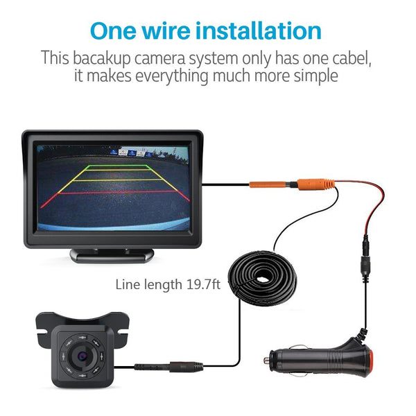 "Aokur Auto IR Backup Rear View Camera Night Vision Kit with 4.3"" TFT LCD Car Monitor - Aokur"