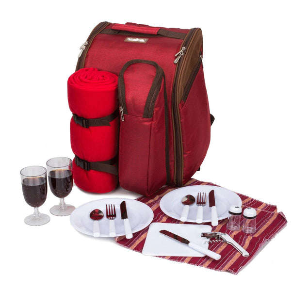 Red Picnic Backpack with Cooler Compartment