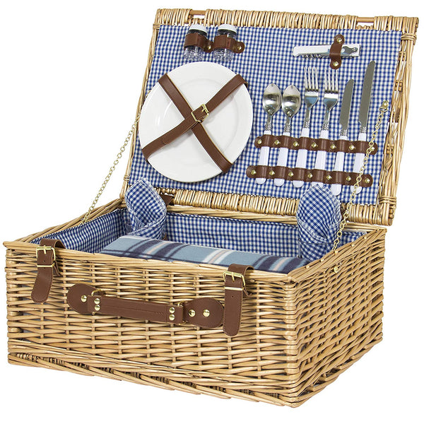 Wicker Picnic Basket W/ Cutlery, Plates, Glasses, Tableware & Blanket
