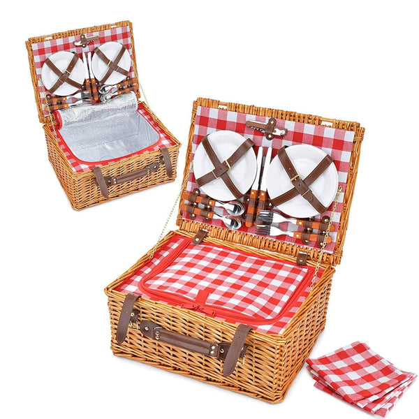 INSULATED Red Picnic Hamper Picnic Basket Set with Lid